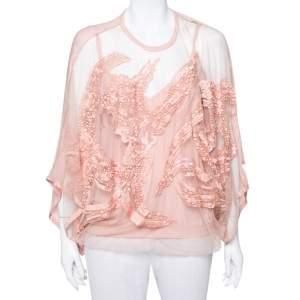 Elie Saab Pale Pink Semi-Sheer Sequin Embellished Oversized Top XS