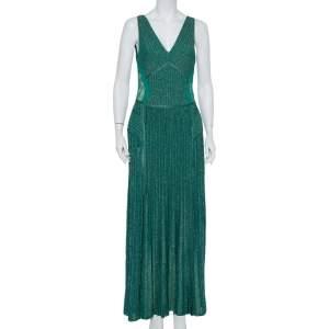 Elie Saab Green Lurex Knit Lace Trim Detail Paneled Maxi Dress M