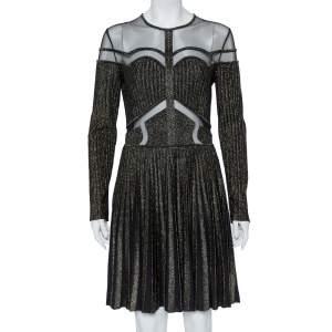 فستان إيلي صعب تول وتريكو لوريكس أسود قصات واسع قصير مقاس وسط (ميديوم)