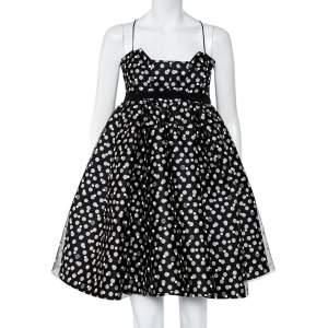 Elie Saab Black Polka Dot Sateen & Tulle Sleeveless Mini Dress XS