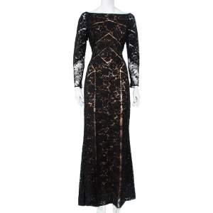 Elie Saab Black Lace Paneled Gown M