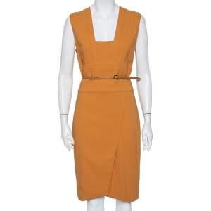 Elie Saab Camel Brown Crepe Pleated Detail Belted Sleeveless Dress S
