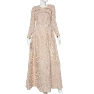 Elie Saab Beige Bead Embellished Lace & Tulle Long Sleeve Gown S