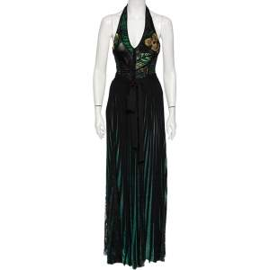 Elie Saab Green Embroidered Lurex Knit & Lace Trim Body Suit & Skirt Set S