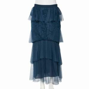 Elie Saab Teal Blue Tiered Chantilly Lace Tulle Long Skirt M