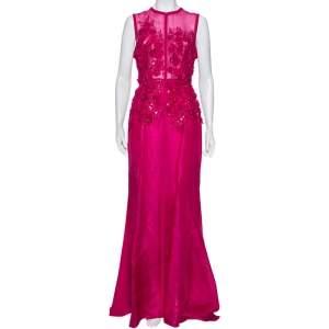 Elie Saab Pink Silk Embellished Floral Applique Sleeveless Gown S