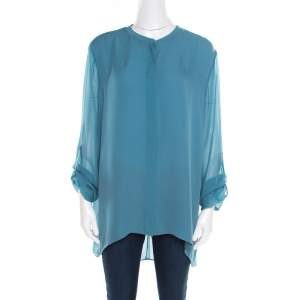 Elie Tahari Teal Blue Silk Shirttail Hem Alejandra Blouse XL