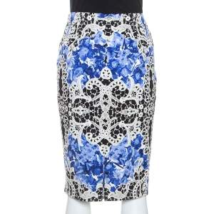 Elie Tahari Blue Printed Cotton Penelope Pencil Skirt M