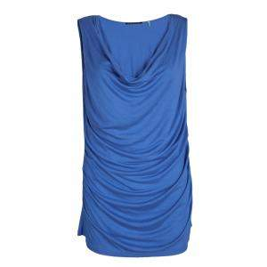 Elie Tahari Cobalt Blue cowl Neck Sleeveless Top L
