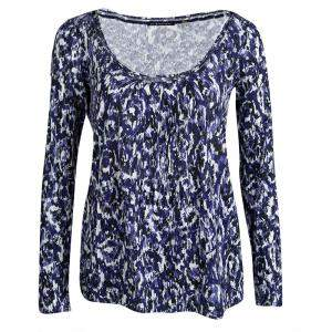 Elie Tahari Blue Printed Knit Long Sleeve Top S
