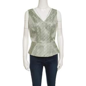 Elie Tahari Multicolor Mini Checkered Sleeveless Peplum Top S
