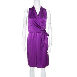 Elie Tahari Purple Satin Front Tie Gathered Waist Sleeveless Halley Dress M
