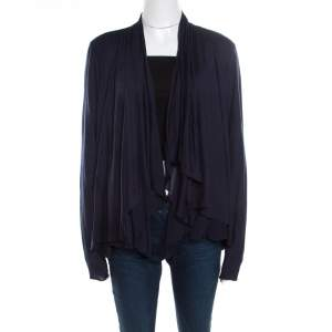 Elie Tahari Navy Blue Jersey and Silk Layered Open Front Cardigan M