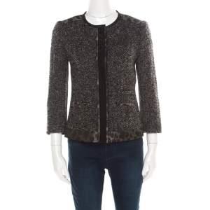 Elie Tahari Grey Tweed and Animal Print Paneled Leather Trim Boucle Jacket S