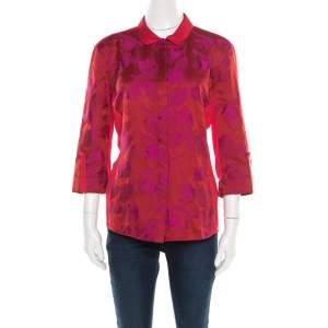 Elie Tahari Red and Purple Floral Jacquard Jersey Shirt M