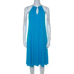 Elie Tahari Bright Blue Jersey Rope Neck Detail Dress S
