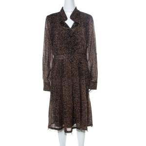 Elie Tahari Brown Leopard Print Wool Ashton Sheath Dress L
