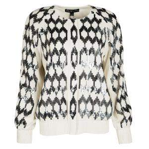 Elizabeth & James Cream Silk Sequin Embellished Track Jacket S