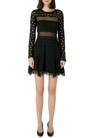 Elizabeth and James Black Embroidered Mesh Overlay Valencia Dress M