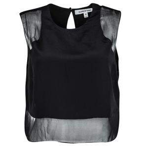 Elizabeth and James Black Silk Sheer Panel Detail Crop Top M