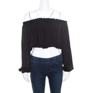 Elizabeth and James Black Sheer Silk Off Shoulder Denny Peasant Crop Top S