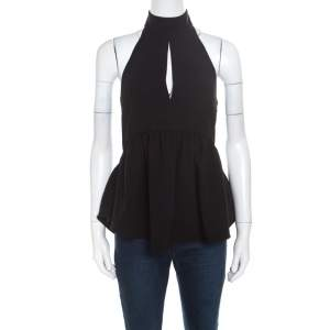 Elizabeth & James Black Crepe Knit Perth Halter Top XS