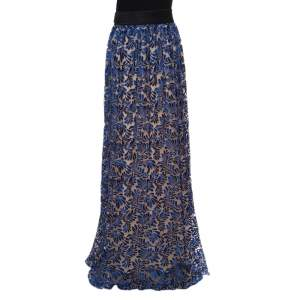 Emanuel Ungaro Royal Blue Tulle Foliage Embroidered Maxi Skirt L