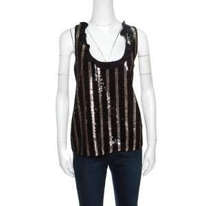 Emanuel Ungaro Black and Gold Striped Sequin Embellished Silk Sleeveless Top L