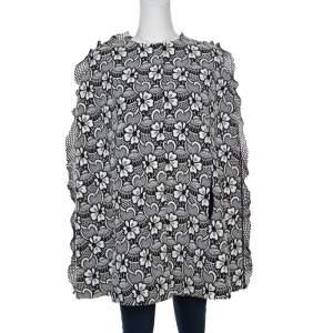 Emanuel Ungaro Monochrome Floral Macrame Lace Cape Style Jacket S