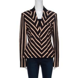 Emanuel Ungaro Multicolor Diagonal Striped Tailored Blazer L