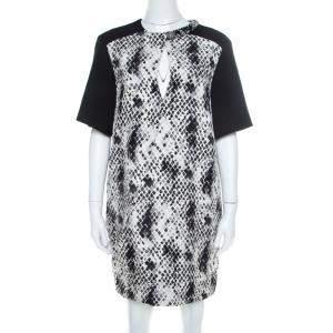 Emanuel Ungaro Textured Python Print Embellished Neck Detail Draped Shift Dress S