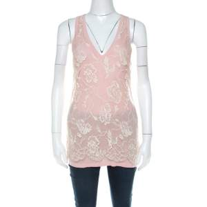 Emanuel Ungaro Pale Pink Floral Lace Overlay Tank Top L