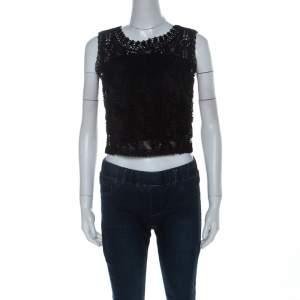 Emanuel Ungaro Ombre De La Nuit Vintage Black Lace Sleeveless Cropped Blouse M