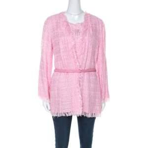 Emanuel Ungaro Pink Tweed Embellished Detail Top & Belted Jacket Set S
