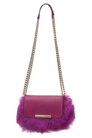 Emilio Pucci Fuchsia Fur and Leather Mini Newton Chain Shoulder Bag