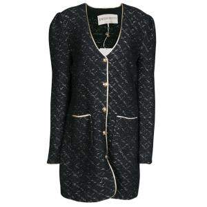 Emilio Pucci Black Wool Lurex Knit Detail Coat XL