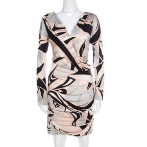 Emilio Pucci Multicolor Printed Silk Jersey Draped Long Sleeve Dress L