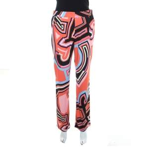 Emilio Pucci Multicolor Monogram Print Crepe Knit Trousers S