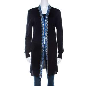 Emilio Pucci Navy Blue Embellished Trim Long Sleeve Cardigan M