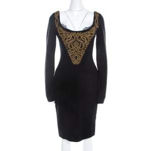 Emilio Pucci Black Wool Gold Beaded Long Sleeve Corset Dress M