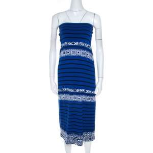 Emilio Pucci Blue Knit Aztec Pattern Strapless Dress S