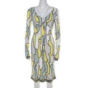 Emilio Pucci Multicolor Geometric Printed Silk Jersey Belted Dress M