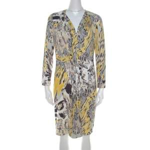 Emilio Pucci Multicolor Abstract Print Stretch Jersey Pleated Plunge Neck Dress L