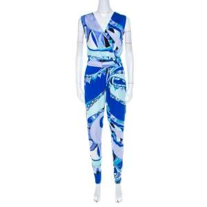 Emilio Pucci Blue Abstract Printed Jersey Sleeveless Tapered Jumpsuit S