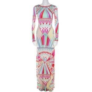 Emilio Pucci Multicolor Signature Print Silk Lace-Up Back Maxi Dress M