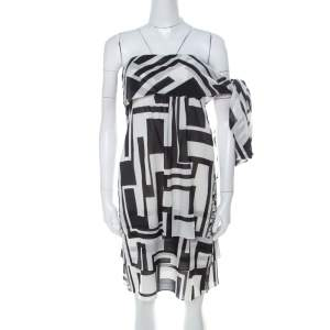 Emilio Pucci Monochrome Silk Chiffon Strapless Short Dress M