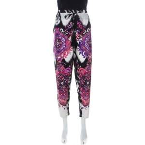 Emilio Pucci Multicolor Printed Silk Drawstring Waist Tapered Pants M