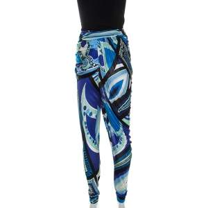 Emilio Pucci Multicolor Printed Jersey Draped Pants S