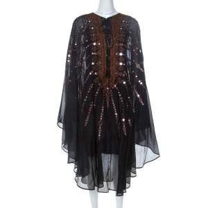 Emilio Pucci Black Mirror Embellished Silk Blend Kaftan Dress S