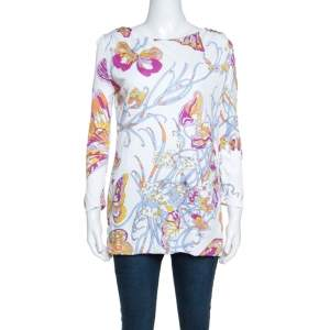 Emilio Pucci White Butterfly Print Knit Tunic Top M